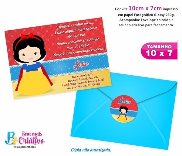 Convite de aniversário infantil c envelope com 60 unidades
