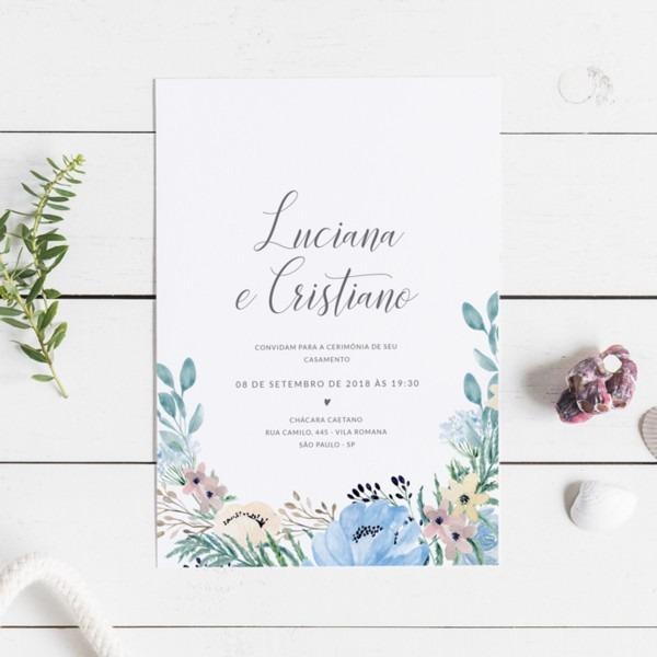 Convite casamento azul (virtual + arte para imprimir) no elo7