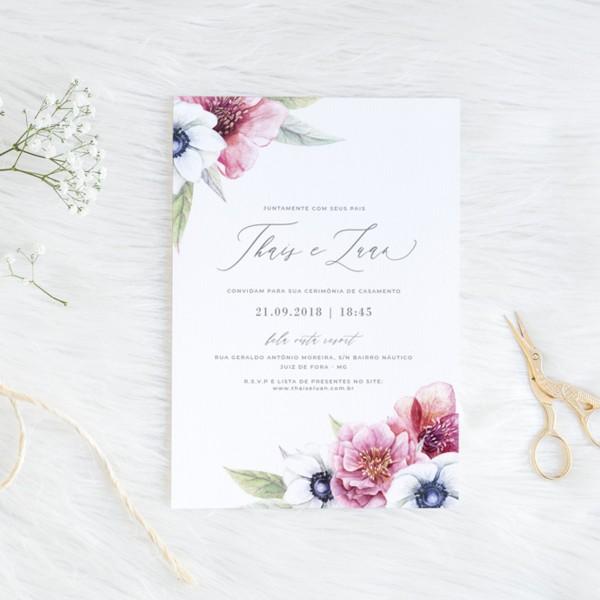 Convite casamento azul e rosa (virtual + arte para imprimir) no