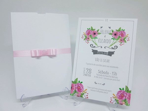 Convite de casamento branco moderno no elo7