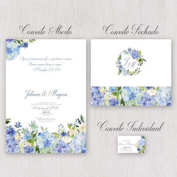 Convite de casamento dobrado azul