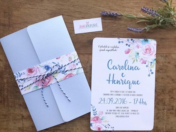 Convite de casamento floral aquarela no elo7