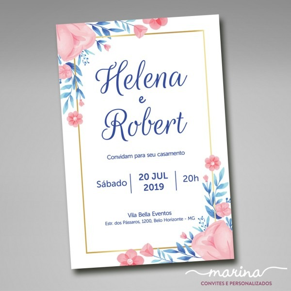Convite de casamento floral com moldura dourada no elo7