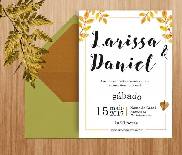 Convite de casamento folhagem digital no elo7