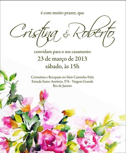 100 convites com aquarela floral no elo7