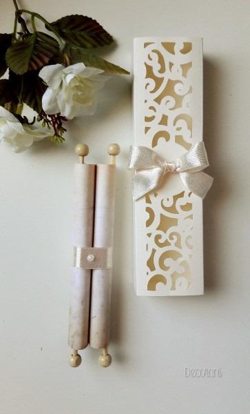 Convite de casamento pergaminho c  caixa 70 unidades