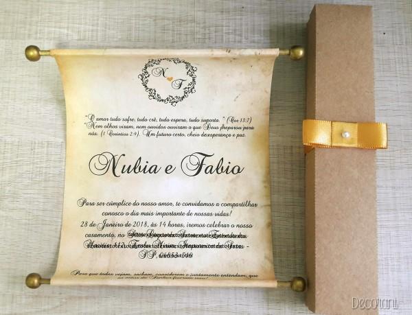 Convite de casamento pergaminho com caixa no elo7