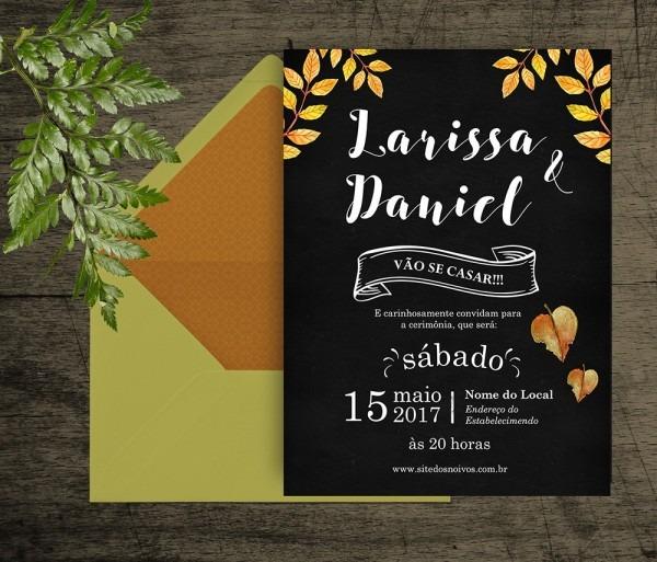 Convite de casamento rústico digital no elo7