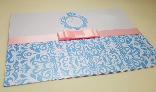 Convite debutante casamento azul rosa no elo7