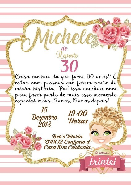 Convite digital 30 anos rosa dourado e branco no elo7