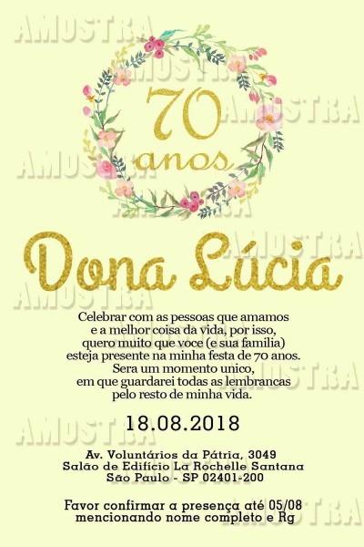 Convite digital 70 anos no elo7