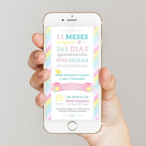 Convite digital aniversário 1 ano virtual p  whatsapp no elo7