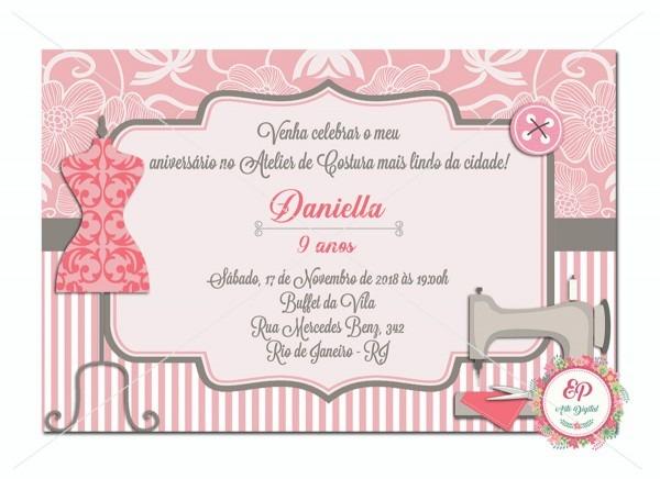 Convite digital ateliê de costura no elo7
