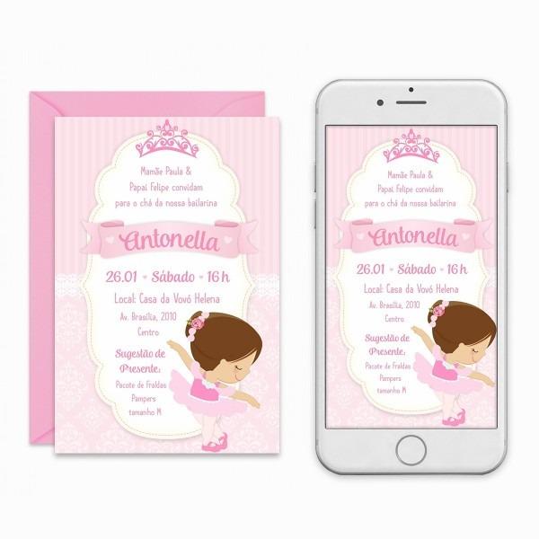 Convite digital bailarina aniversário chá de bebê imprimir
