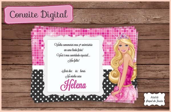 Convite digital barbie no elo7