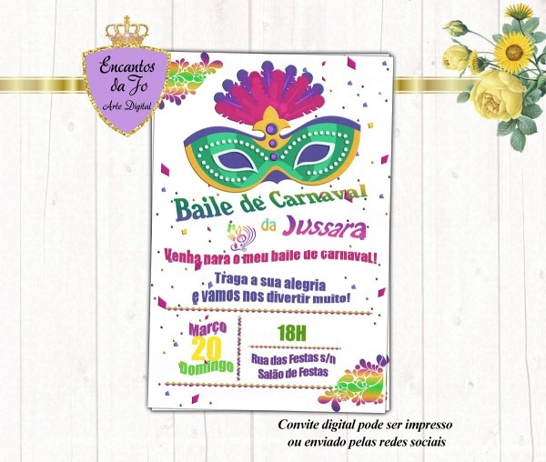 Convite digital baile de carnaval no elo7