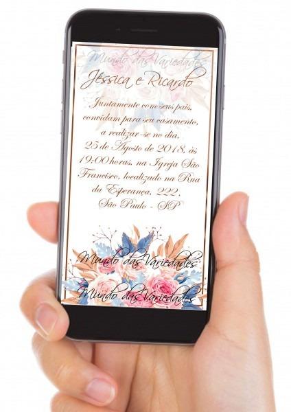 Convite digital celular casamento no elo7