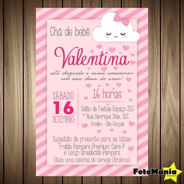 Convite digital chá de bebê {fralda} no elo7