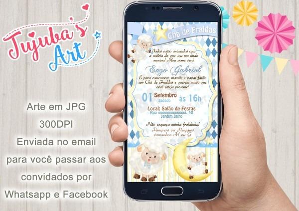 Convite digital chá de fraldas ovelhinha para whatsapp no elo7