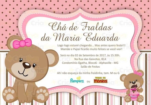 Convite digital chÁ de fraldas ursa rosa no elo7