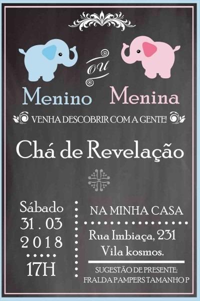 Convite digital chÁ de revelaÇÃo no elo7