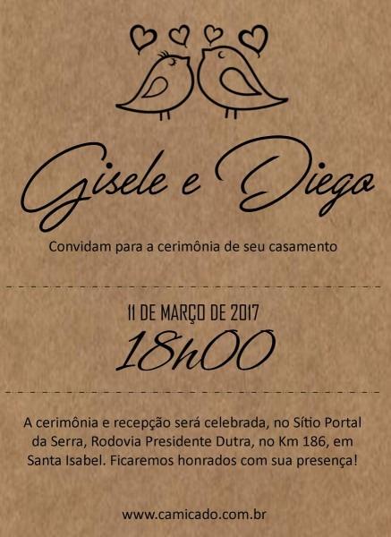 Convite digital coleção  rústico no elo7