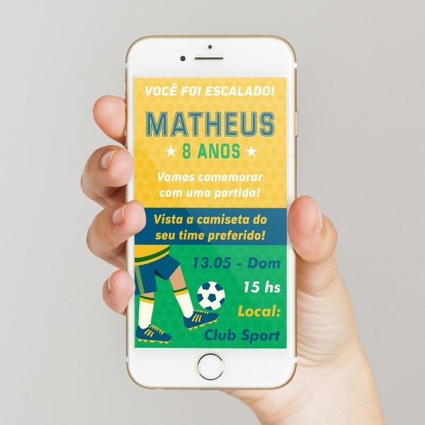 Convite digital de aniversário futebol convocação titular no elo7