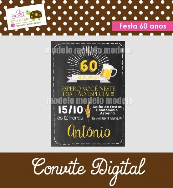 Convite digital festa 60 anos no elo7