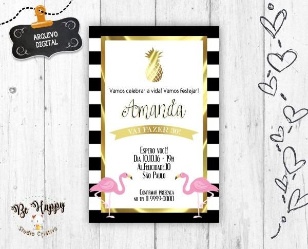 Convite digital festa flamingo