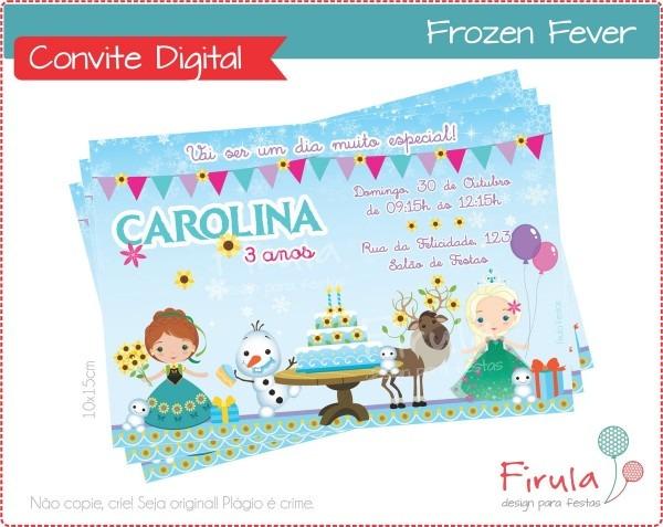 Convite digital frozen fever no elo7
