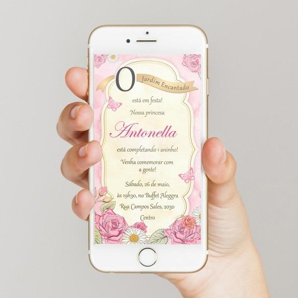 Convite digital jardim encantado das borboletas p  whatsapp no