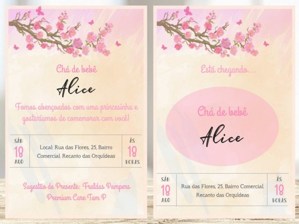 Convite digital + lembrete cha de bebe tema jardim flores no elo7