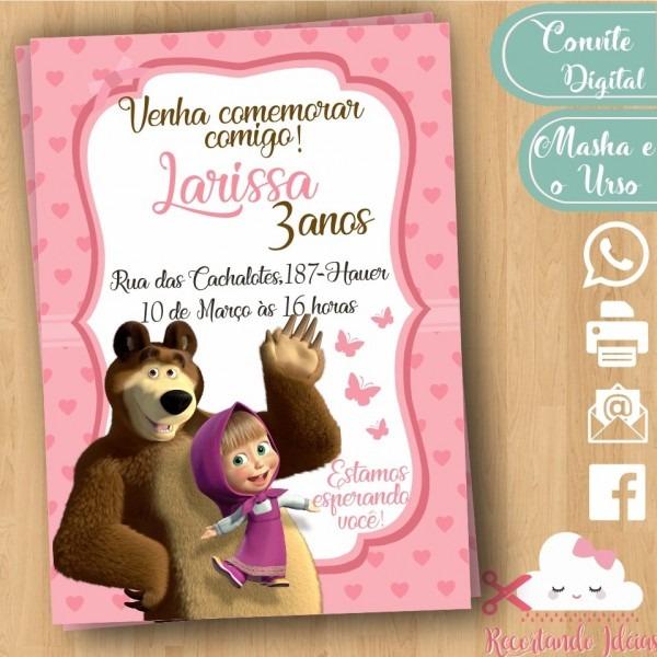 Convite digital masha e o urso no elo7