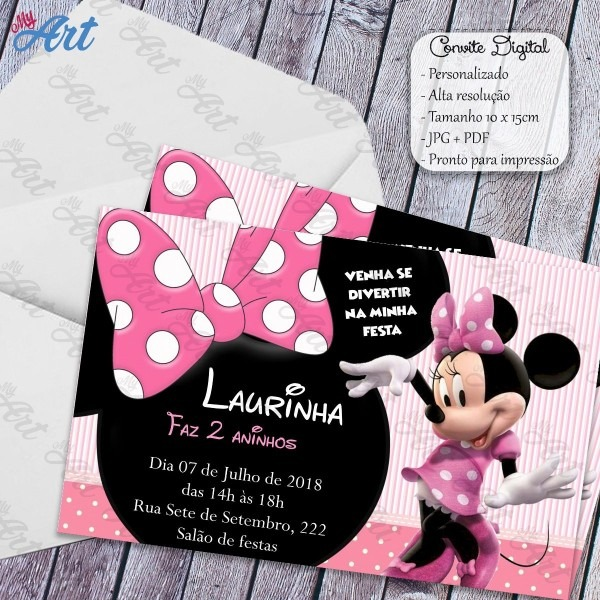 Convite digital minnie rosa personalizado