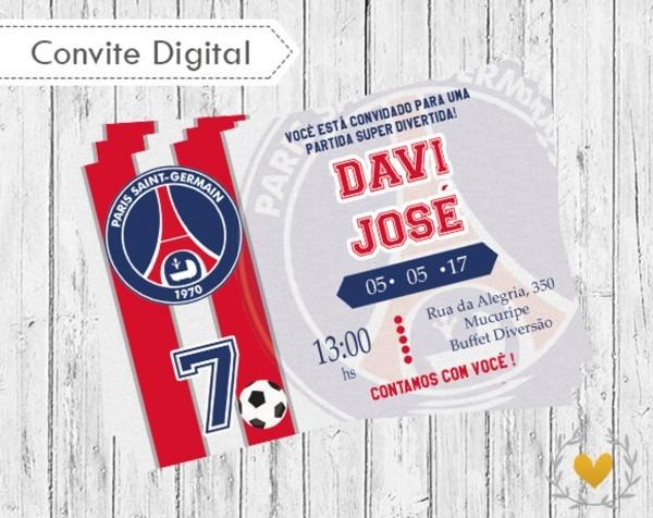 Convite digital paris saint germain no elo7