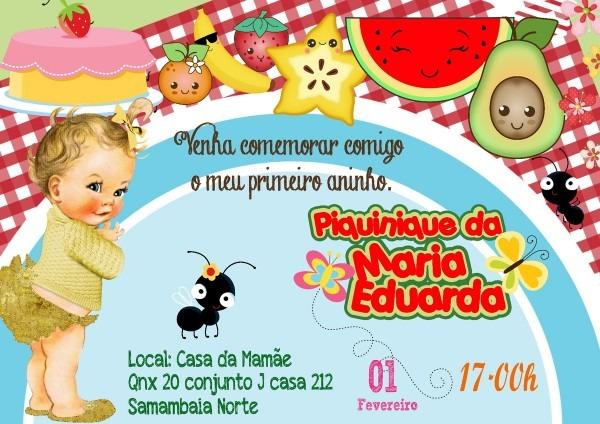 Convite digital piquenique 2 no elo7