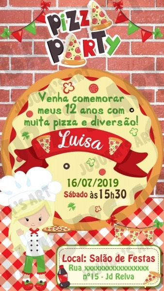 Convite digital pizza pizzaria menina para whatsapp  mod2