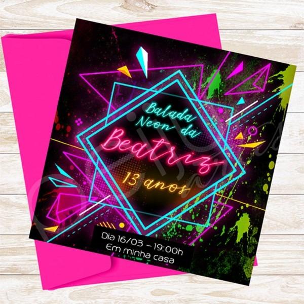 Convite digital, tema balada neon no elo7