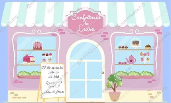 Convite digital tema confeitaria no elo7
