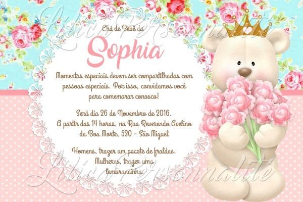 Arte de convite digital aniversário infantil ursa princesa no elo7
