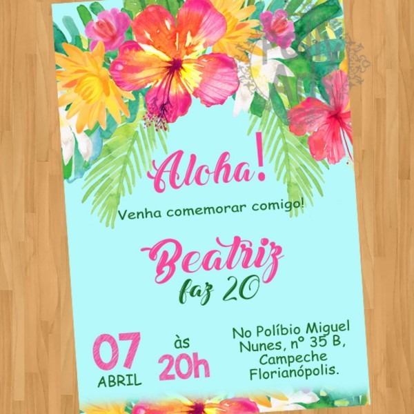 Convite digital aloha hawaii aniversario
