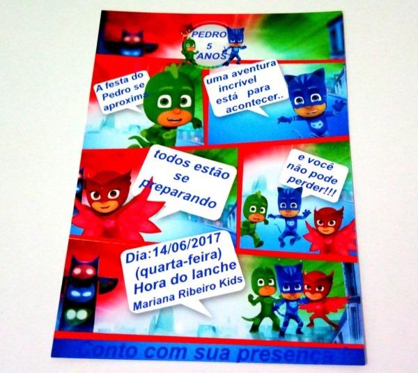 Convite em quadrinhos pj masks no elo7