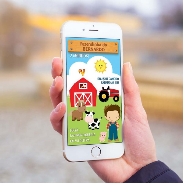 Convite digital infantil bichinhos fazendinha md5 – convite