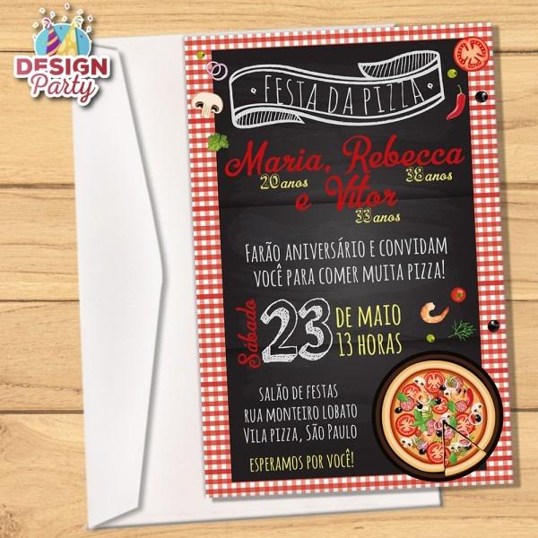 Convite para festa na pizzaria