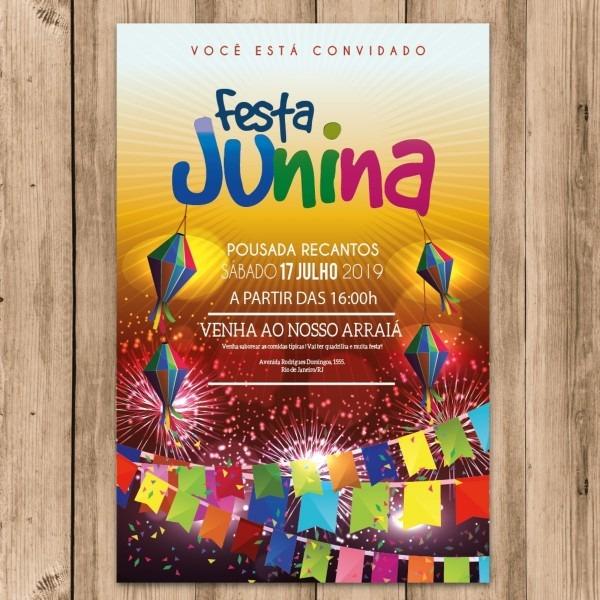 Convite festa junina arraiá balão caipira envie whatsapp no elo7