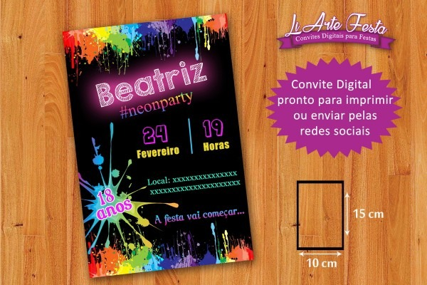 Convite festa neon (arte digital) + lacre envelope grátis no elo7