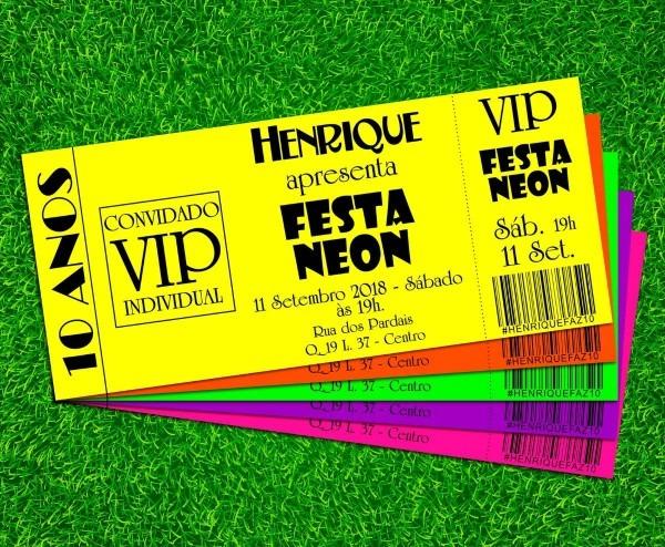 Convite festa neon várias cores 17x7cm