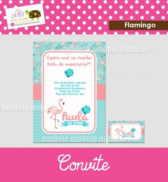 Convite flamingo no elo7