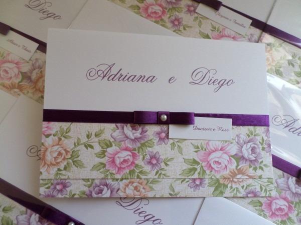 Convite floral lilás rosa e roxo no elo7