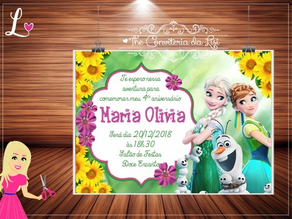 Convite frozen fever digital no elo7